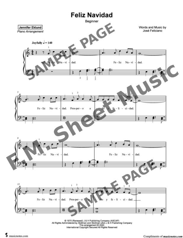 Feliz Navidad Beginners By Jose Feliciano F M Sheet Music Pop Arrangements By Jennifer Eklund