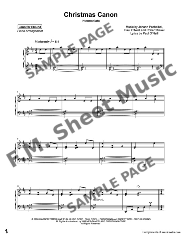 Christmas Canon.Christmas Canon Late Intermediate Piano By Trans Siberian
