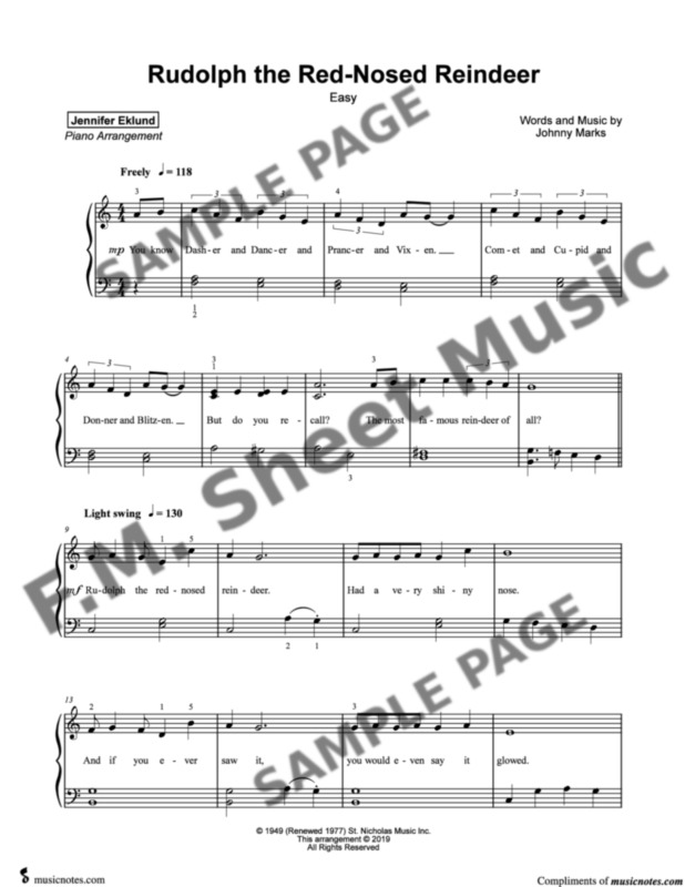 rudolph the red nosed reindeer easy piano by gene autry f m sheet music pop arrangements by jennifer eklund red nosed reindeer easy piano