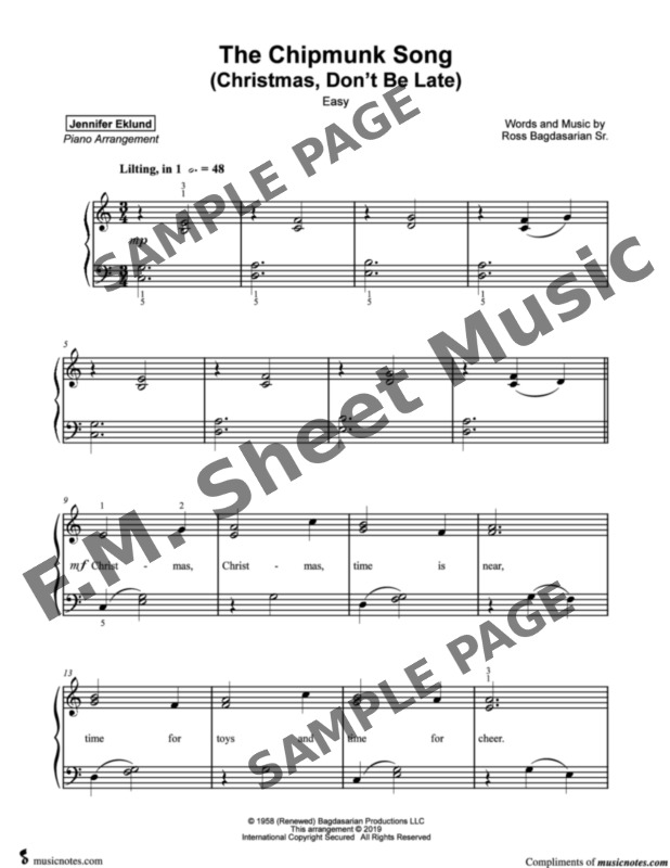 The Chipmunk Song (Christmas Don't Be Late) - Easy Piano By Alvin & The Chipmunks - F.M. Sheet ...