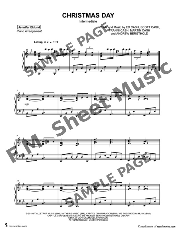 Christmas Day (Intermediate Piano) By Chris Tomlin, We The Kingdom - F.M. Sheet Music - Pop ...