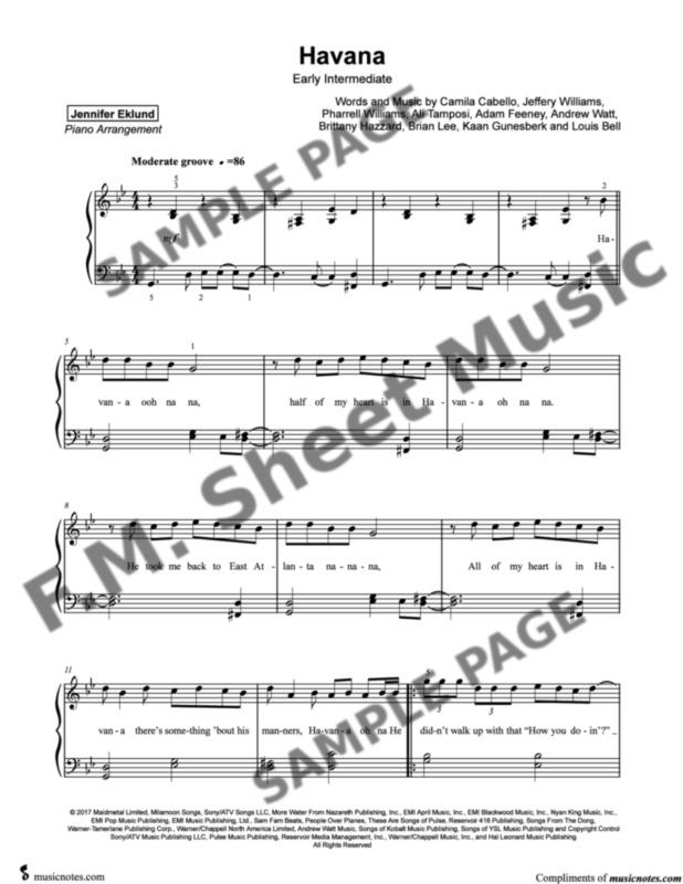 Havana (Early Intermediate Piano) By Camila Cabello - F M  Sheet