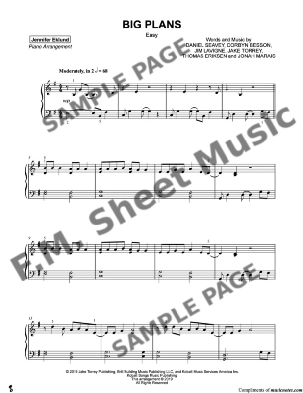 Big Plans (Easy Piano) By Why Don't We - F M  Sheet Music - Pop