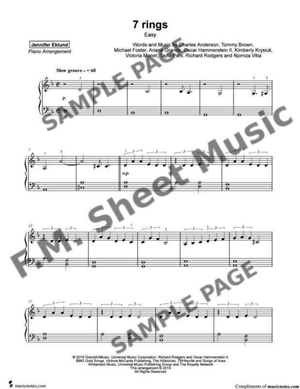7 Rings (Easy Piano) By Ariana Grande - F M  Sheet Music