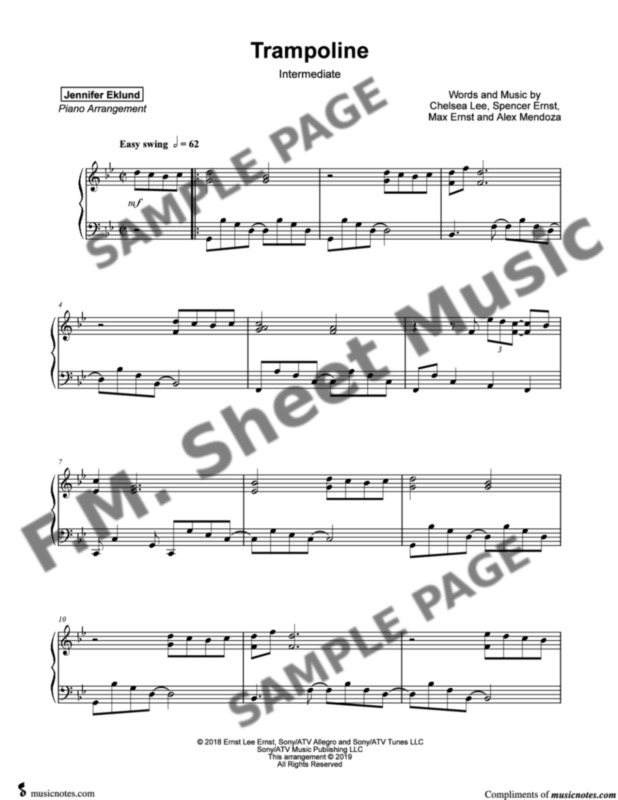 Trampoline (Intermediate Piano) By SHAED - F M  Sheet Music - Pop