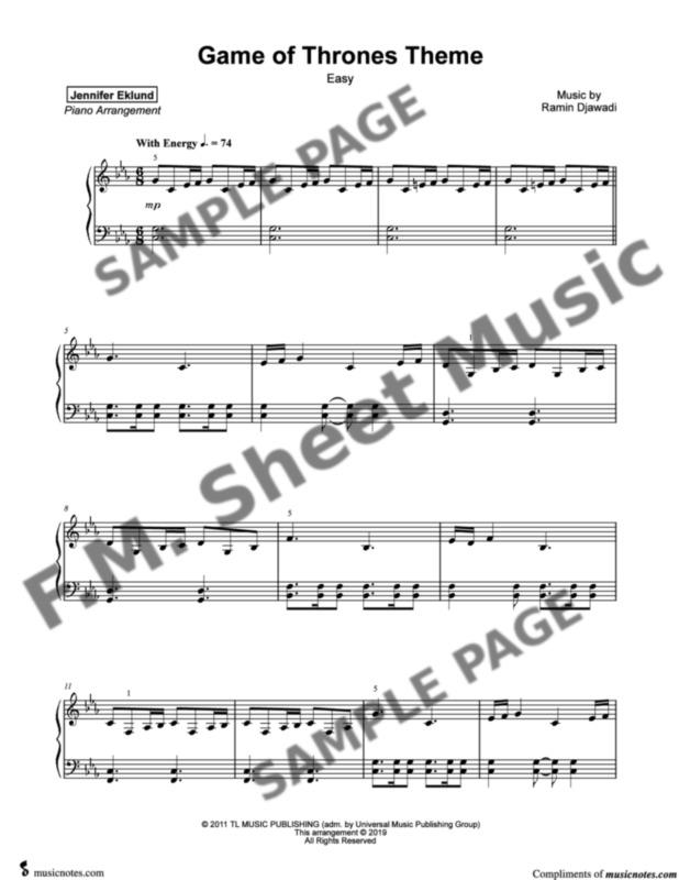 Game Of Thrones Easy Piano By Ramin Djawadi Fm Sheet
