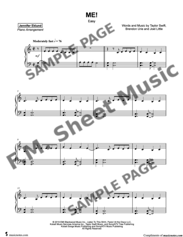 Me Easy Piano By Taylor Swift F M Sheet Music Pop Arrangements By Jennifer Eklund
