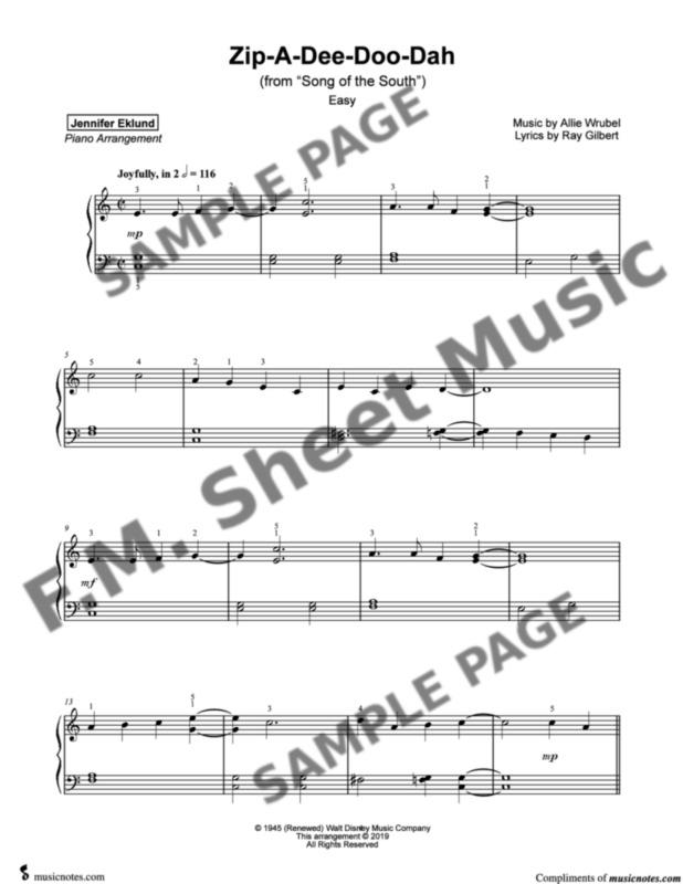 Zip-A-Dee-Doo-Dah (Easy Piano) By Disney - F M  Sheet Music - Pop