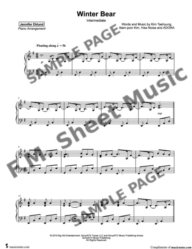 winter bear intermediate piano by v f m sheet music pop arrangements by jennifer eklund