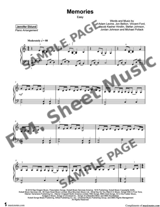 Memories Easy Piano By Maroon 5 F M Sheet Music Pop Arrangements By Jennifer Eklund