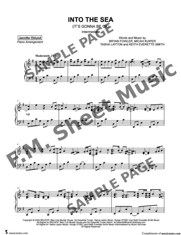 into the sea (it's gonna be ok) (intermediate piano) by tasha layton - f.m. sheet  music - pop arrangements by jennifer eklund  fm sheet music